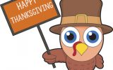 turkey holding sign happy thanksgiving clipart
